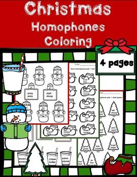 Christmas Homophones Assessment (Elves, Snowmen, Trees, Milk and Cookies)
