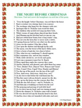 Christmas Homophones Search - The Night Before Christmas by ...
