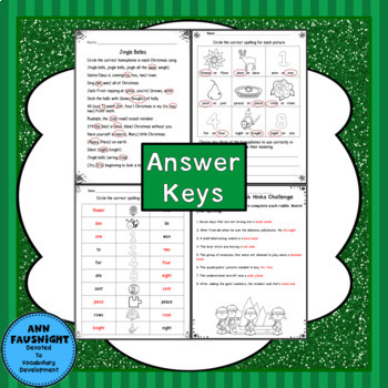 Christmas Homophone Game and Practice Pages