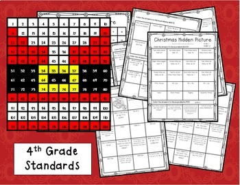 Christmas Hundred Chart Hidden Picture for 4th Grade