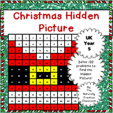Christmas Hundred Chart Hidden Picture for UK Year 5