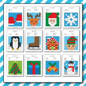 Christmas Addition and Subtraction - Christmas Math Mystery Pictures