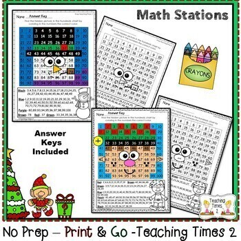 Christmas Hundreds Charts | MATH CENTERS | MATH REVIEW