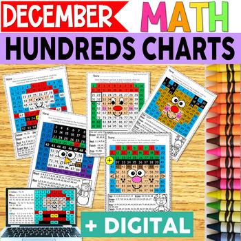 Christmas Hundreds Charts | MATH CENTERS | MATH REVIEW