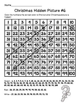 Christmas Hundreds Chart Hidden Picture Packet