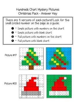 Christmas Math - Hundreds Chart Mystery Pictures by Mrs ...