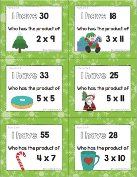 Christmas I Have Who Has Multiplication Game Facts 2 to 12