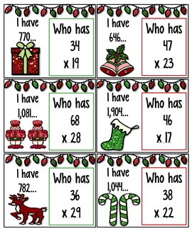 Christmas: I Have...Who Has... Multiplying 2-Digit by 2-Digit Numbers 4.NBT.5