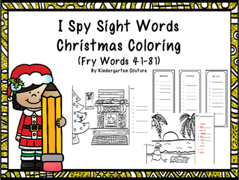 Christmas I See Tiny  Sight Words -Coloring Edition (Fry W