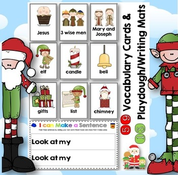 Christmas I can Make a Sentence Play Dough Mats, Vocab. Cards + Record Sheets