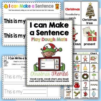 Christmas I can Make a Sentence Play Dough Mats, Vocab. Ca