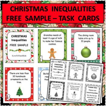 Christmas INEQUALITIES Real World Task Cards SAMPLE