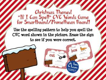 Christmas If I Can Spell CVC Words Game (Smartboard/Promethean Board)