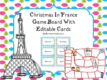 Christmas In France Game Board With Editable Cards-Free