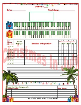 Christmas In July Themed Piano Lesson Assignment Sheet *SUMMER LESSONS*