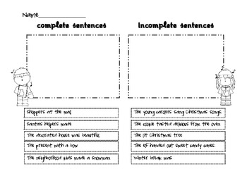 Christmas Incomplete and Complete Sentences for 1st and 2nd Grade