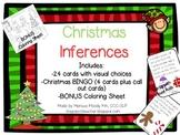 Christmas Inferences with visual aids, BONUS coloring sheet, and Christmas Bingo