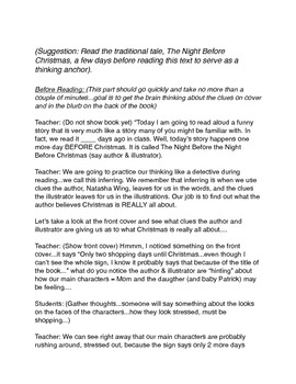 Christmas Read & Think Aloud Inferring Lesson Plan and Responses