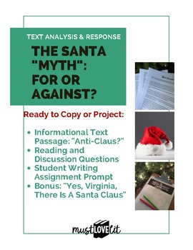 Christmas Informational Text Questions and Writing Prompt, HS Christmas Analysis