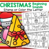 Christmas Initial Beginning Sounds Stamp or Color in b/w FREE