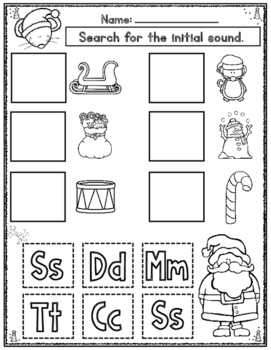 Christmas Initial Sound Cut and Paste Worksheets:  Activities for Kindergarten