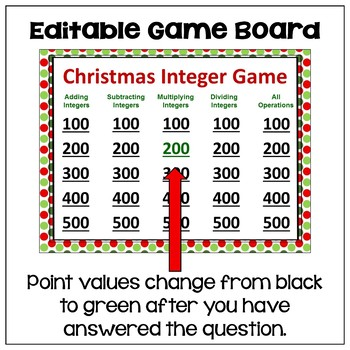 Christmas Integer Game - Similar to Jeopardy