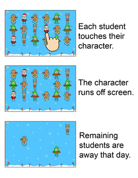 Christmas Activities Interactive Attendance for All Whiteboards and Smartboards