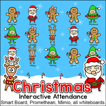 Christmas Activities Interactive Attendance for All Whiteb