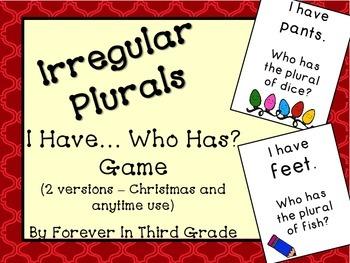 irregular nouns game - Plural Of Christmas