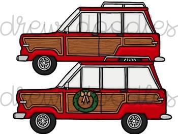 Christmas Jeep Digital Clip Art Set