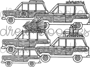 Christmas Jeep Digital Clip Art Set- Black Line Version