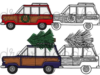 Christmas Jeep Digital Clip Art Set- Color and Black Line COMBO