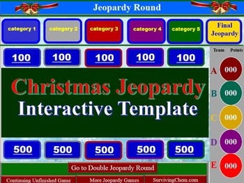 christmas jeopardy interactive game template for holly jolly fun, Powerpoint templates