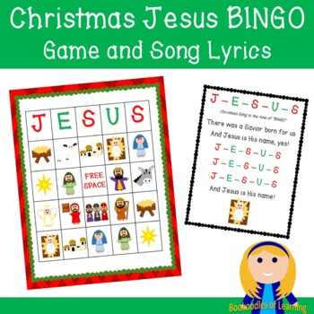 graphic relating to Bible Bingo Printable known as Xmas Jesus Bingo Video game Tune Lyrics for Christian Nativity Bible Mastering