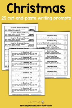 Writing Prompts For Christmas: 25 Cut-And-Paste Writing Prompts | TpT