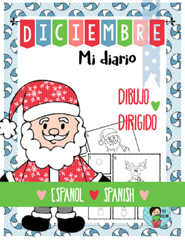 Christmas Journal Prompt with Directed Drawing Spanish December