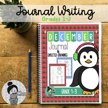 Christmas December Journal Prompts with Directed Drawings No Prep