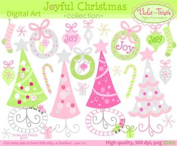 Christmas Joy Pink & Green Christmas Tree Train Wreath Ornament Clipart Clip Art