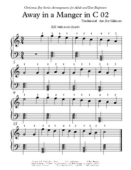 Christmas Joy Series: Away In A Manger arr. for adult and teen beginners.