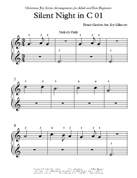 Christmas Joy Series: Silent Night arr. for adult and teen beginners.