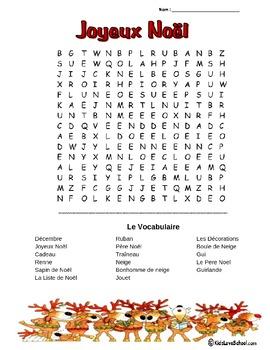 Christmas-Joyeux Noel! --Wordsearch in FRENCH!