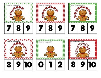 Christmas Jugglers Counting Clip Cards