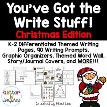 Christmas K-2 Differentiated Writing Paper, Prompts, Centers, Word Wall, & More!