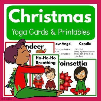 christmas yoga cards and printables  clip art kids  tpt