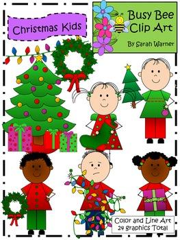 Christmas Kids Clip Art  {Busy Bee Clip Art}