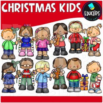 Christmas Kids Clip Art Bundle {Educlips Clipart}