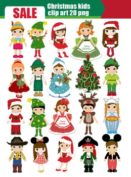 Christmas Kids costume party Clip art SALE 50%