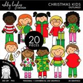 Christmas Kids Outlined Clipart [Ashley Hughes Design]