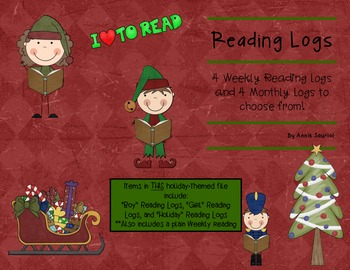 Christmas Kids Reading Logs: Daily & Monthly Recording Sheets ELA Holiday Theme
