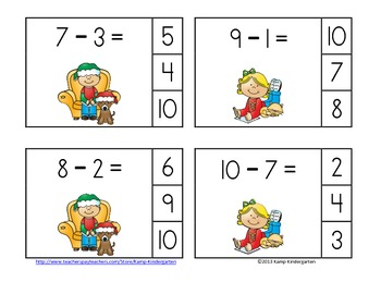 Christmas Kids Subtraction Math Centers (Minuends to 10)